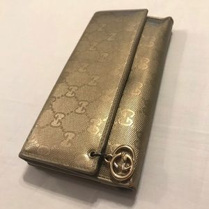 Gucci Wallet Gold Leather w/ Charm GG Logo